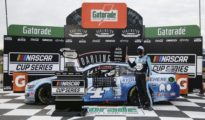 Kevin Harvick celebrates in victory