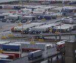 lorries wait to board ferries