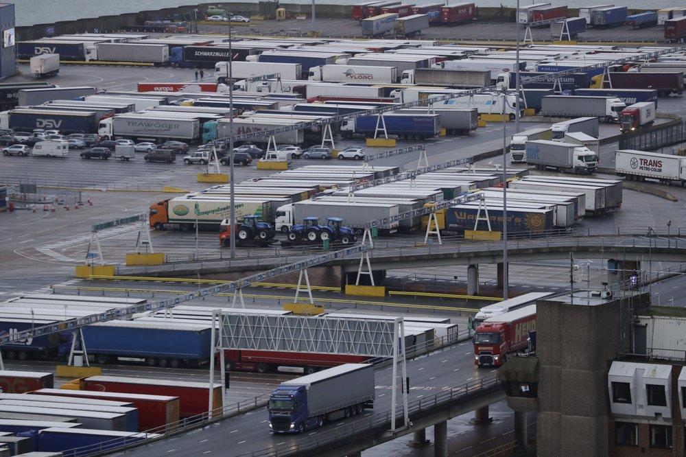 lorries wait to board ferries